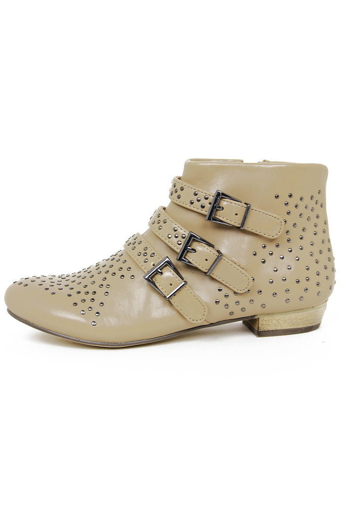 STUDDED ANKLE BOOTS - Beige - Haute & Rebellious