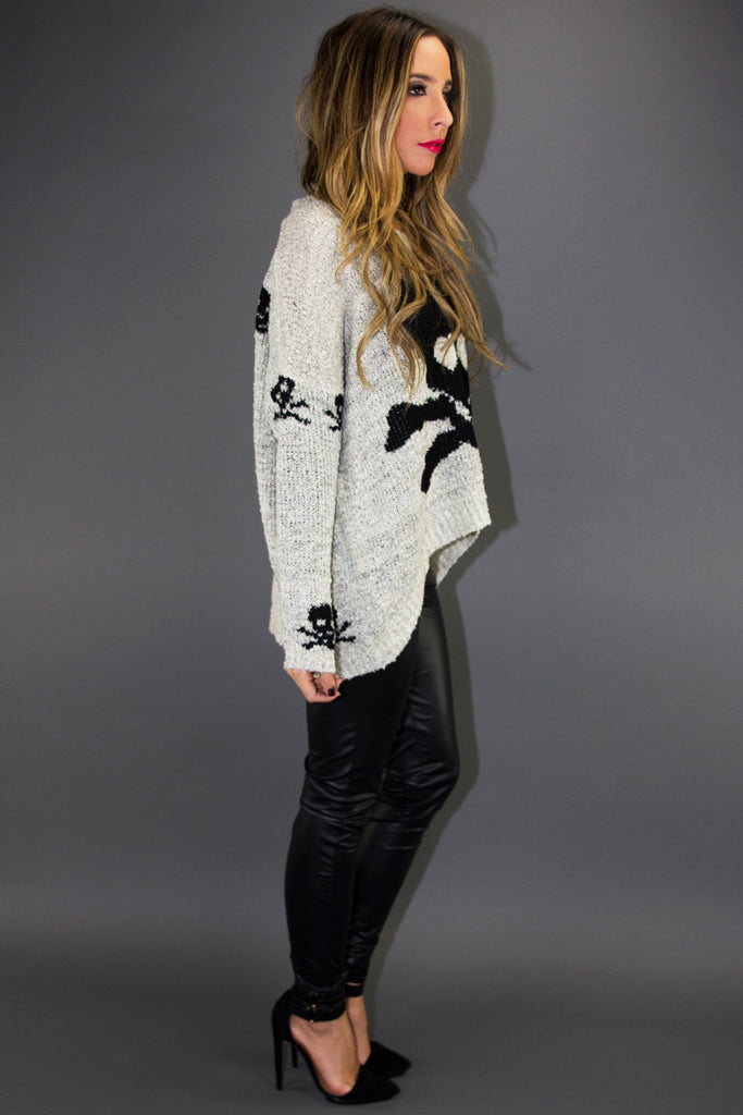 SKULL SWEATER - Gray/Black
