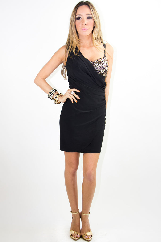 ONE SHOULDER DRESS WITH SEQUIN - Black/Gold