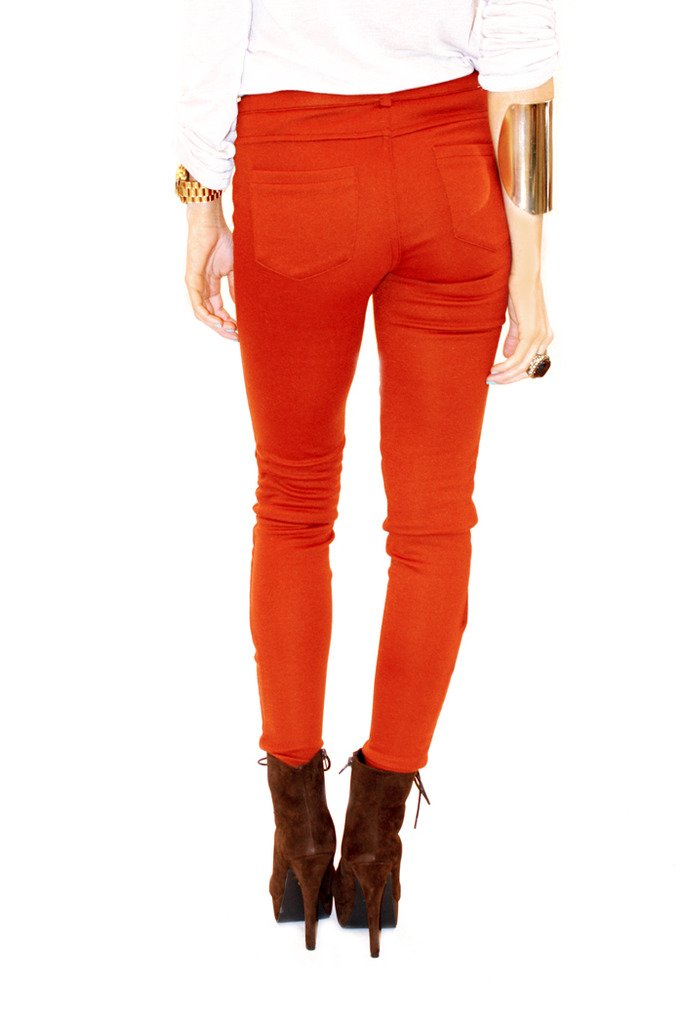FALL ORANGE SKINNY PANT - Haute & Rebellious