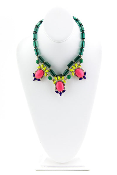 COLORFUL GEM STONES NECKLACE