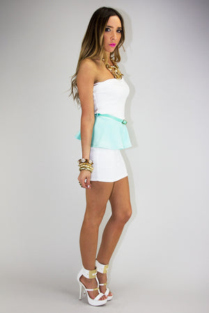 PASTEL PEPLUM TOP - Mint/White (Final Sale) - Haute & Rebellious