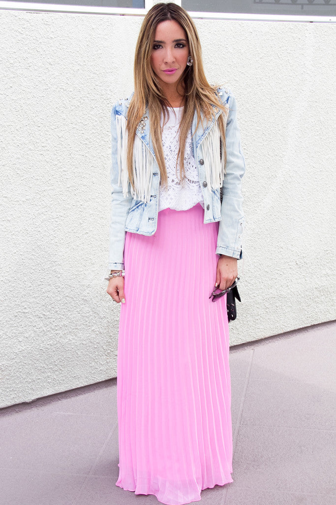 PLEATED LONG SKIRT - Bubble Gum