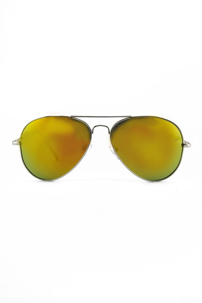 TINTED LENS AVIATOR - Silver/Yellow