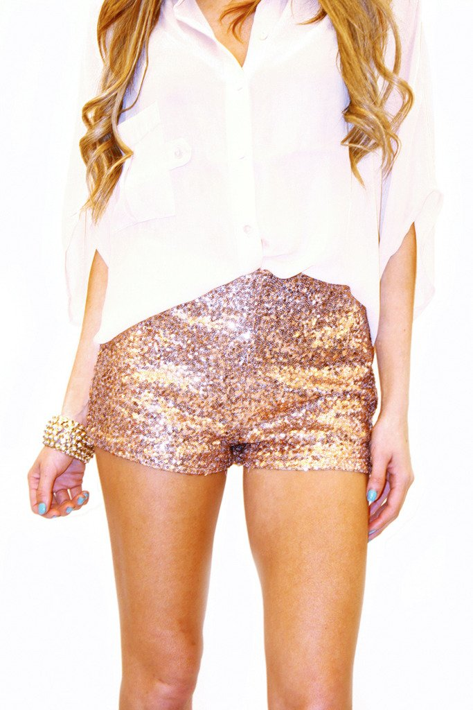 GOLD ROSE SEQUIN SHORTS