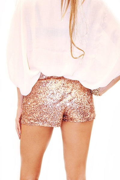 GOLD ROSE SEQUIN SHORTS - Haute & Rebellious