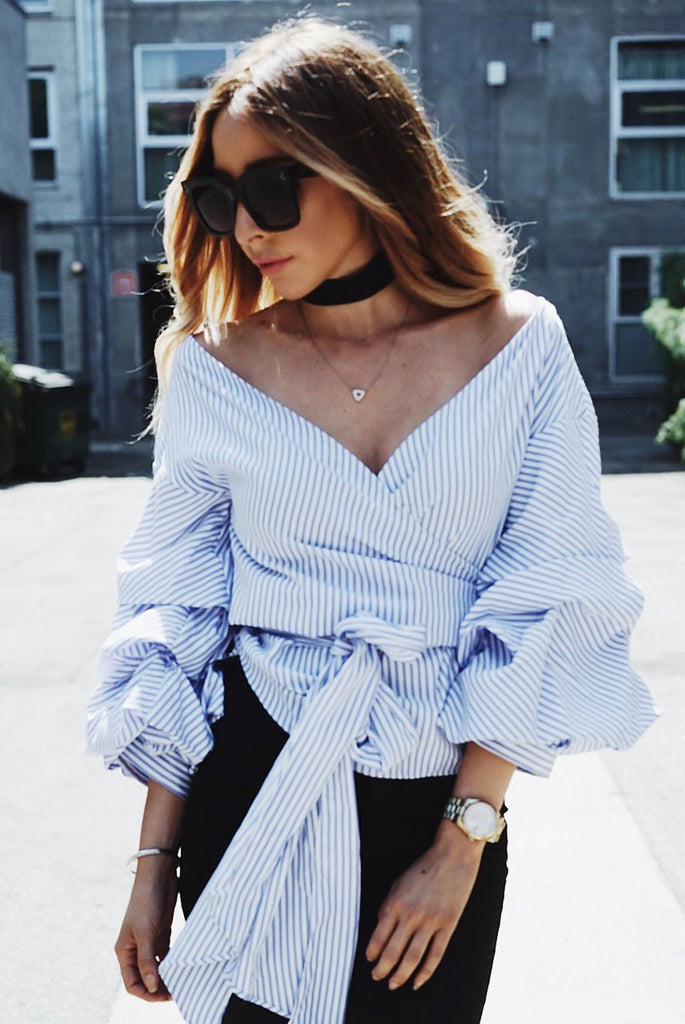Call Me Striped Ruched Sleeve Top - Blue
