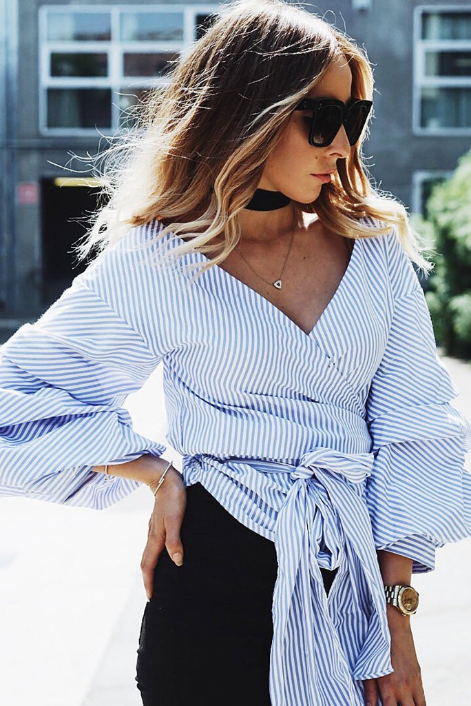 Call Me Striped Ruched Sleeve Top - Blue - Haute & Rebellious