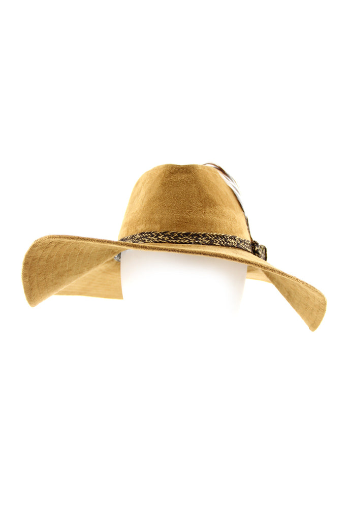 Suede Wide-Brim Floppy Hat - Camel