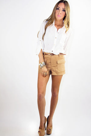 SUEDE SHORTS WITH POCKETS - Khaki (Final Sale) - Haute & Rebellious