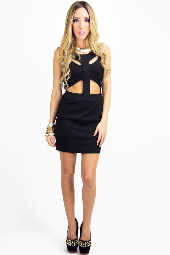 ALANA CUTOUT DRESS - Black