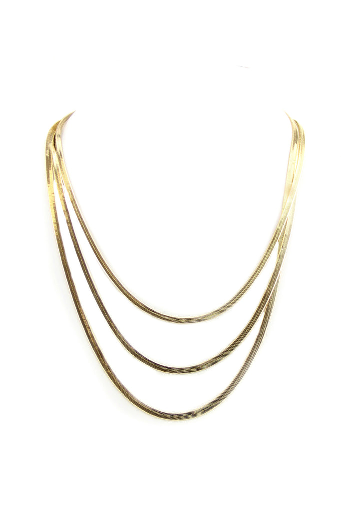 Sage Flat Rope Chain Necklace - Gold