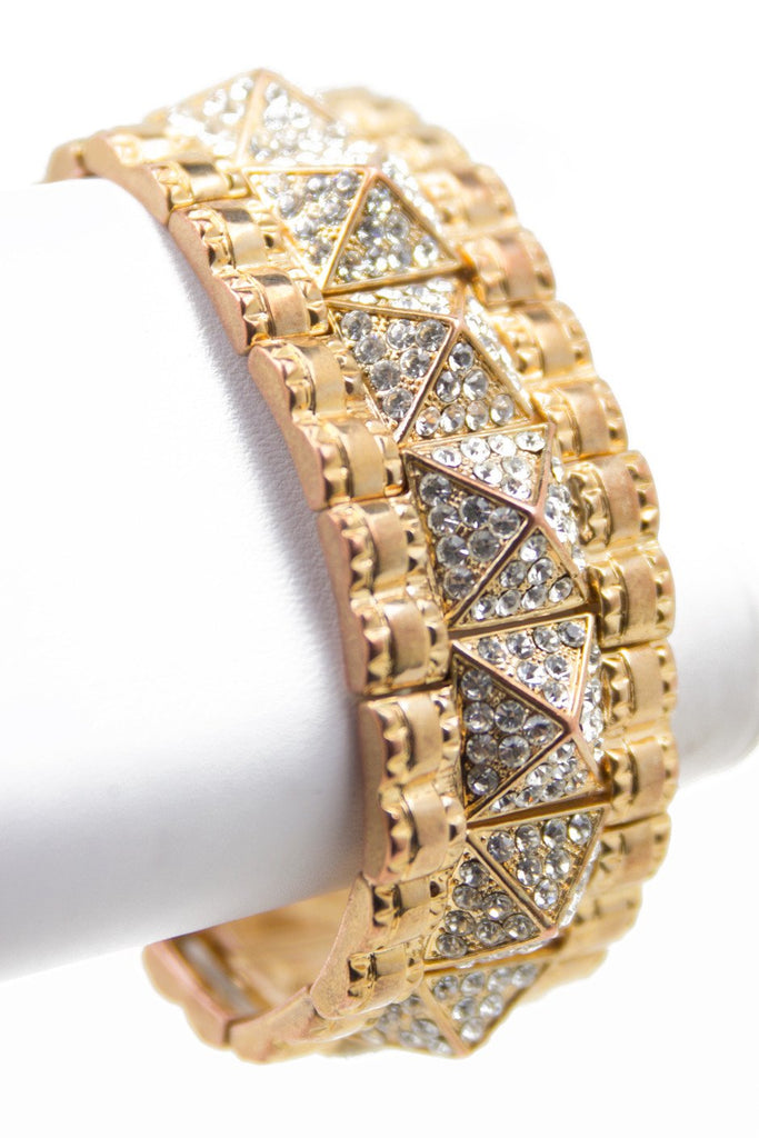 CRYSTAL PYRAMIDS BRACELET - Gold (Final Sale) - Haute & Rebellious