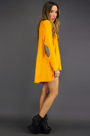 SEQUIN ELBOW PADS SWEATER - Neon Mustard - Haute & Rebellious