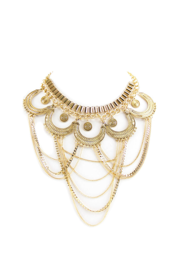 Nala Bohemian Statement Necklace - Gold