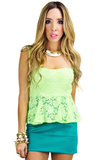 ELLA NEON LACE DRESS - Green