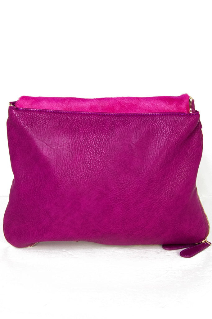 FUR FLAP CLUTCH - Deep Fuchsia