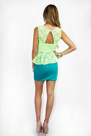 ELLA NEON LACE DRESS - Green - Haute & Rebellious