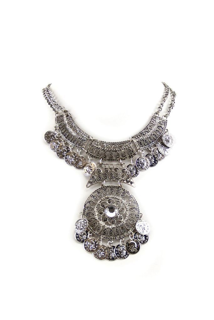 Jaya Boho Statement Necklace - Silver