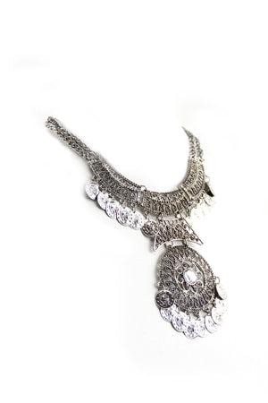 Jaya Boho Statement Necklace - Silver - Haute & Rebellious