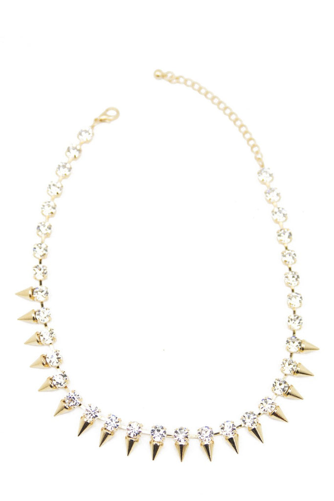 CRYSTALS & SPIKES NECKLACE - Gold
