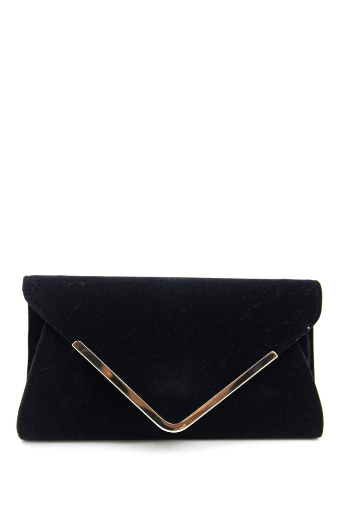 PLATED TRIM SUEDE CLUTCH - Black