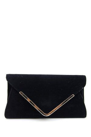 PLATED TRIM SUEDE CLUTCH - Black - Haute & Rebellious