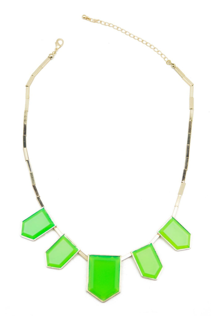 GREEN STONES NECKLACE - Gold