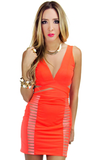 ALLISON NEON DRESS - Orange/Nude