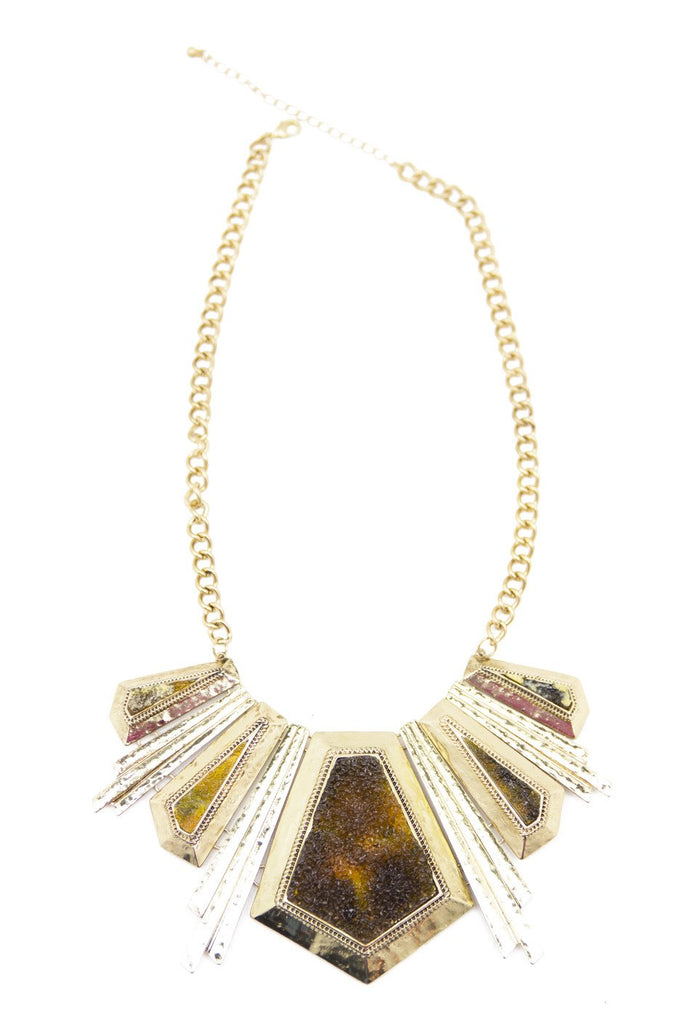 ENYA STONE NECKLACE - Gold