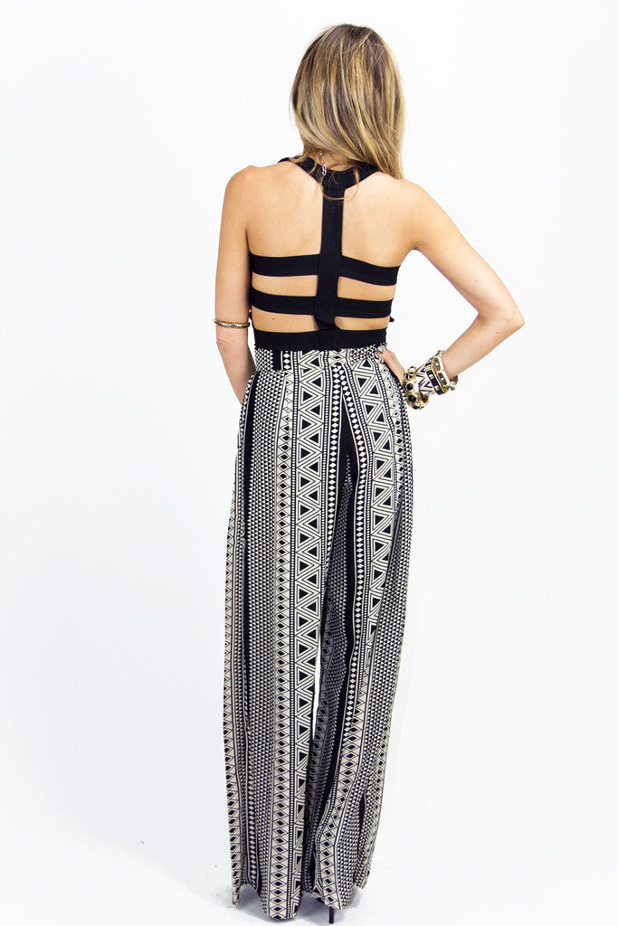 TRIBAL PRINT PALAZZO PANTS  - Black/Beige - Haute & Rebellious