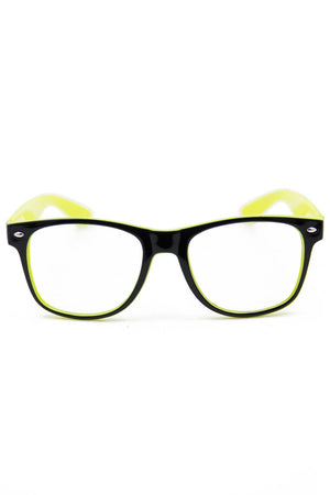 BLACK & NEON YELLOW GLASSES - Haute & Rebellious