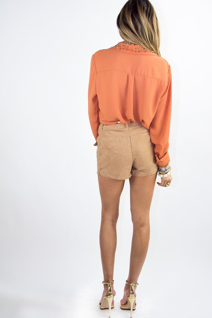 LONG SLEEVE BLOUSE WITH STUDDED NECK - Copper