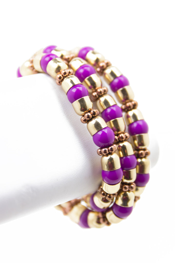 PURPLE MARBLE BRACELET - Gold