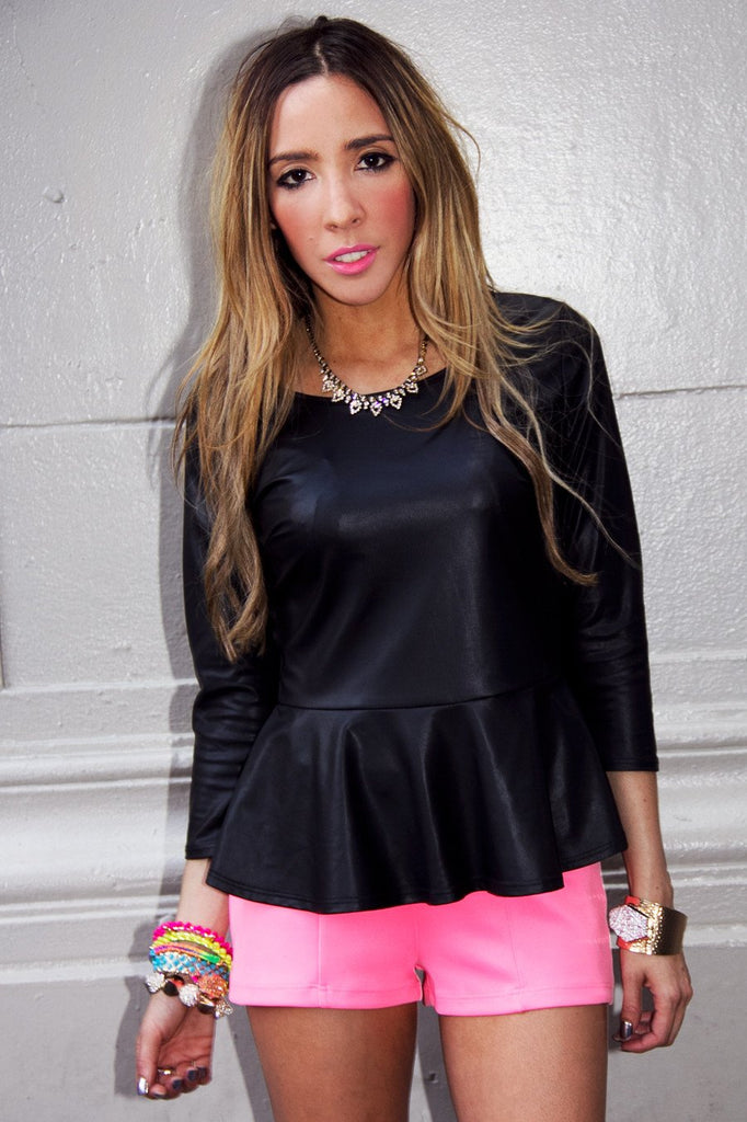 LEATHER PEPLUM BLOUSE - Black