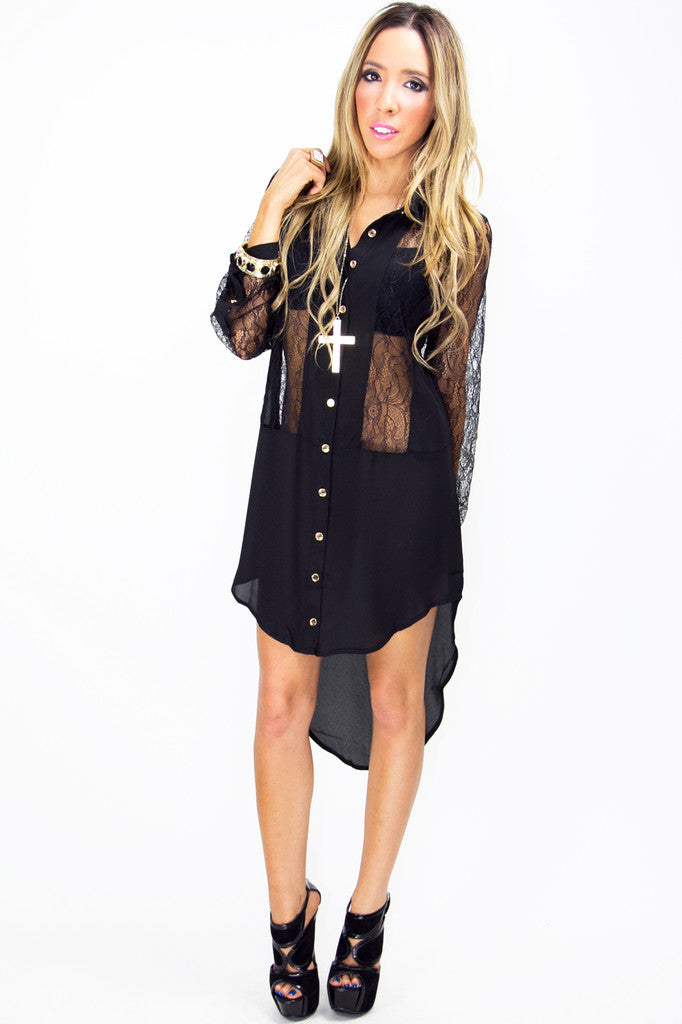 PEYTON LACE TUNIC BLOUSE - Black