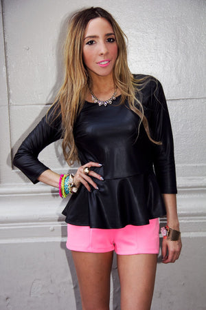 LEATHER PEPLUM BLOUSE - Black - Haute & Rebellious