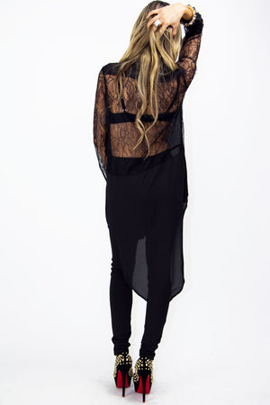 PEYTON LACE TUNIC BLOUSE - Black - Haute & Rebellious