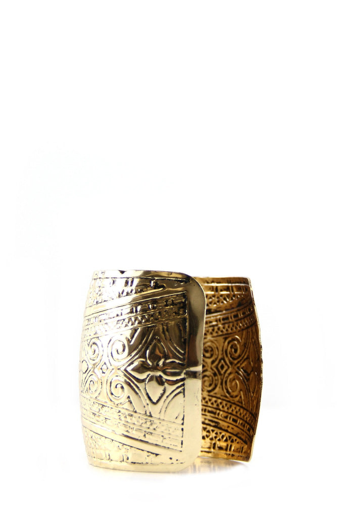 Egyptian Pattern Gold Cuff Bracelet