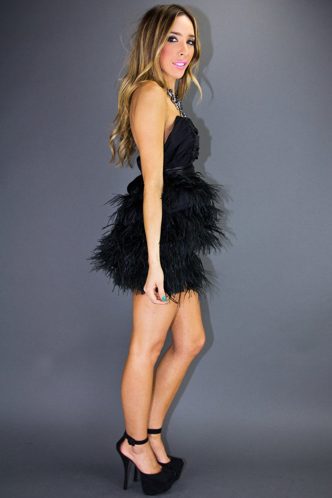 CAMILA FEATHER DRESS