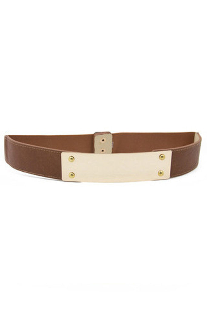 SMALL GOLD PLATED BELT - Brown