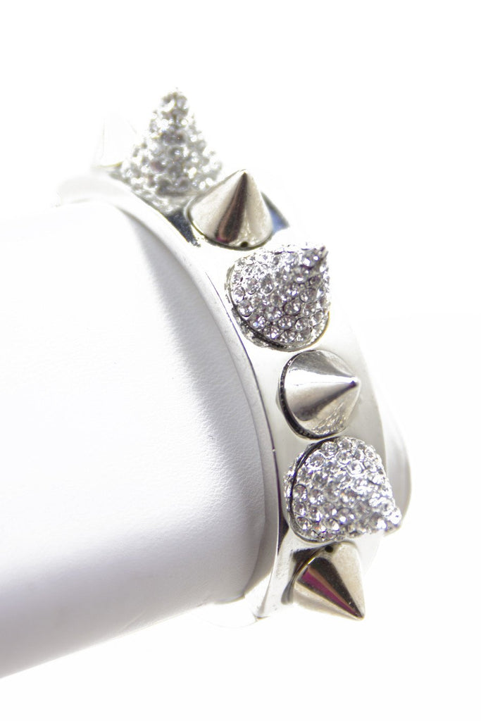 CRYSTALS & SPIKES BANGLE - Silver