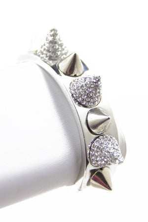 CRYSTALS & SPIKES BANGLE - Silver - Haute & Rebellious