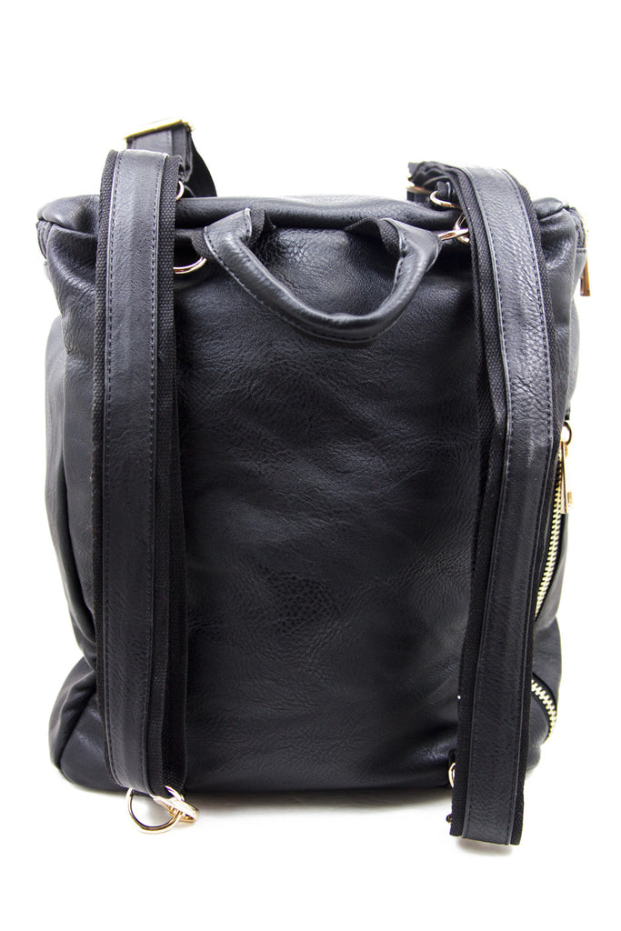 VEGAN LEATHER STUDDED BACKPACK - Black