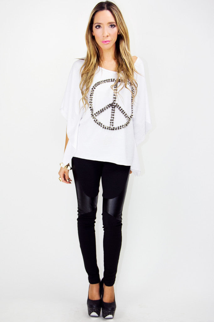 PEACE AND LOVE STUDDED TUNIC BLOUSE