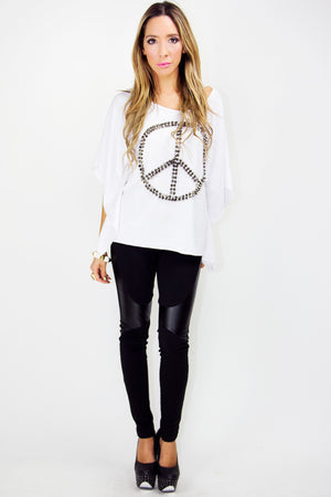 PEACE AND LOVE STUDDED TUNIC BLOUSE - Haute & Rebellious