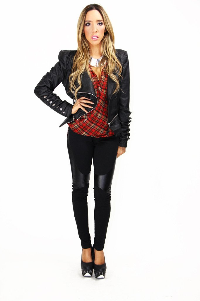 CITY LEATHER JACKET WITH POINTY SHOULDERS - Black