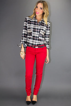 STUDDED PLAID SHIRT - Black  Print - Haute & Rebellious
