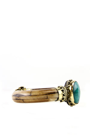 Petrified Wood Aqua Stone Bangle - Haute & Rebellious