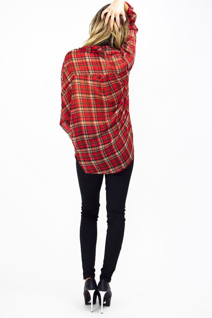 PLAID CHIFFON BLOUSE - Red Print (Final Sale)